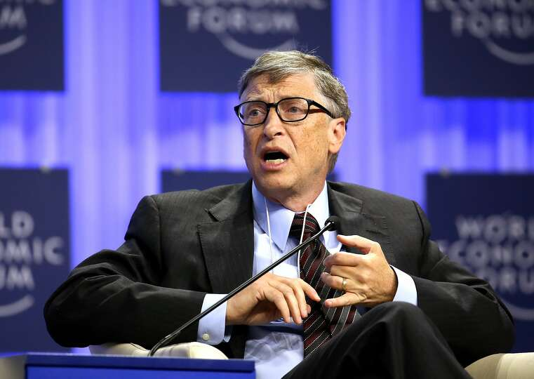 Bill Gates, co-chair and trustee of Bill and Melinda Gates Foundation, speaks during a session on da