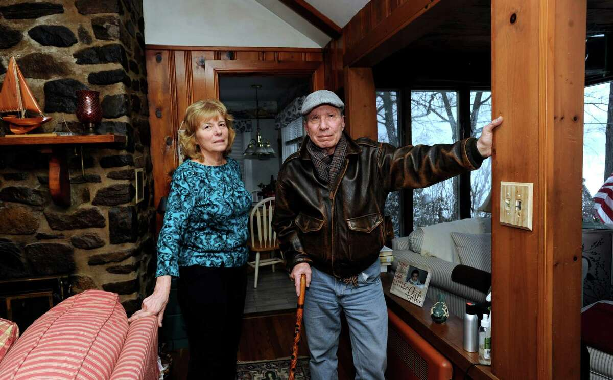 Some Danbury homeowners, particularly those living by Candlewood Lake, are upset over a large spike in their taxes. Joanne, 70, and Michael Calandrino, 68, who live ke Road in Danbury, Conn., are among those complaining, Monday, Feb. 3, 2014.
