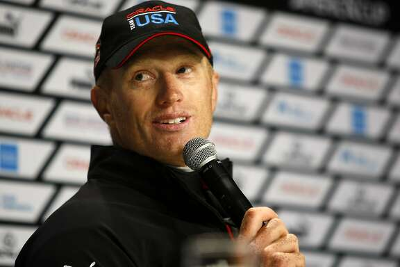 Oracle Team USA skipper Jimmy Spithill is seen at a news conference after race number eight of the America's Cup Finals in San Francisco, CA Saturday September 14, 2013.