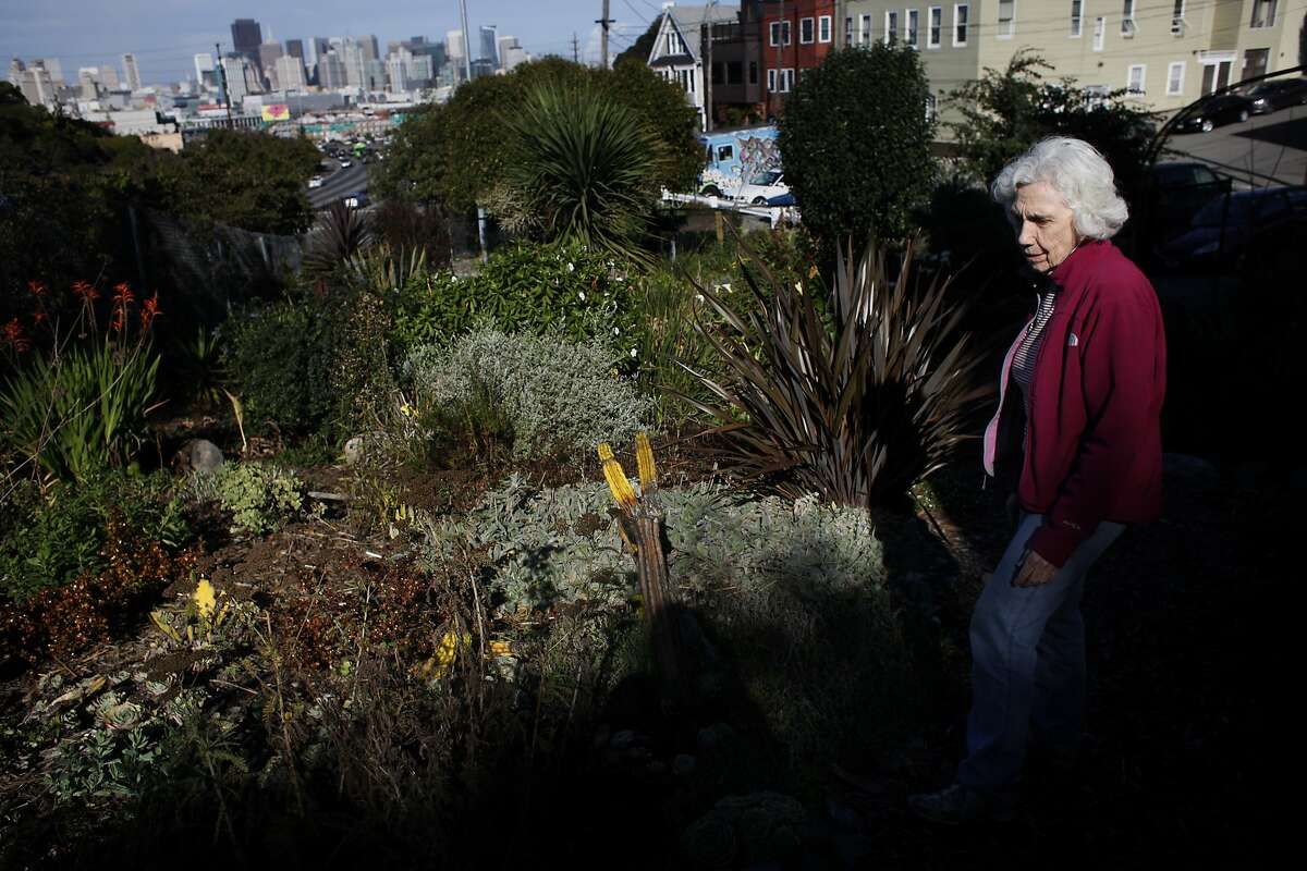 Jean Bogiages, a retired software engineer walks through the Beach Garden, which has been created by the neighbors in Potrero Hill, Thursday January 30, 2014, in San Francisco, Calif. For years, business owners have been able to band together to raise their own taxes and use the money to improve their commercial corridors. Now, a group of homeowners wants to do the same thing and use the funds to create new open spaces in their formerly industrial area of town.