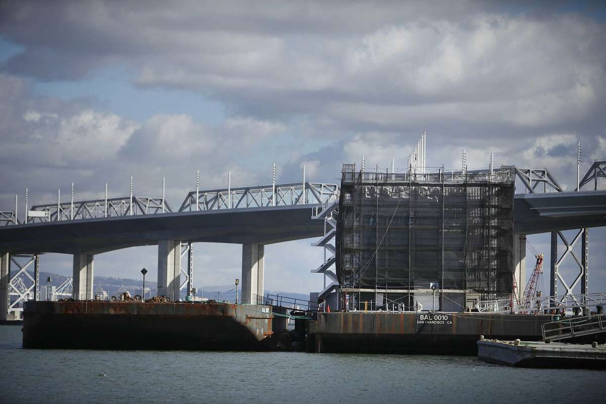A Google barge is seen off of Pier 1 on Treasure Island on Monday, February 3, 2014 in San Francisco, Calif.