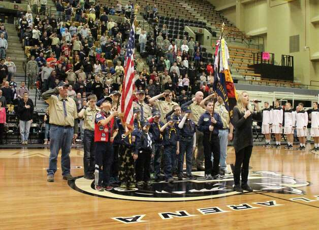 Pete Hennessy of Ballston Lake photographed the Jan. 25 Army-American University basketball game at West Point and it turned out Cub Scout Pack 4, based at the Charlton Heights Elementary School in Ballston Lake, was ?presenting the colors? prior to the national anthem. (Submitted photo)
