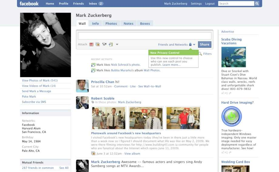 This version of the profile is cleaner than the previous year's and gives users the ability to adjust privacy settings for each post.Article:Even on top, Facebook looks for next big thing Photo: Facebook