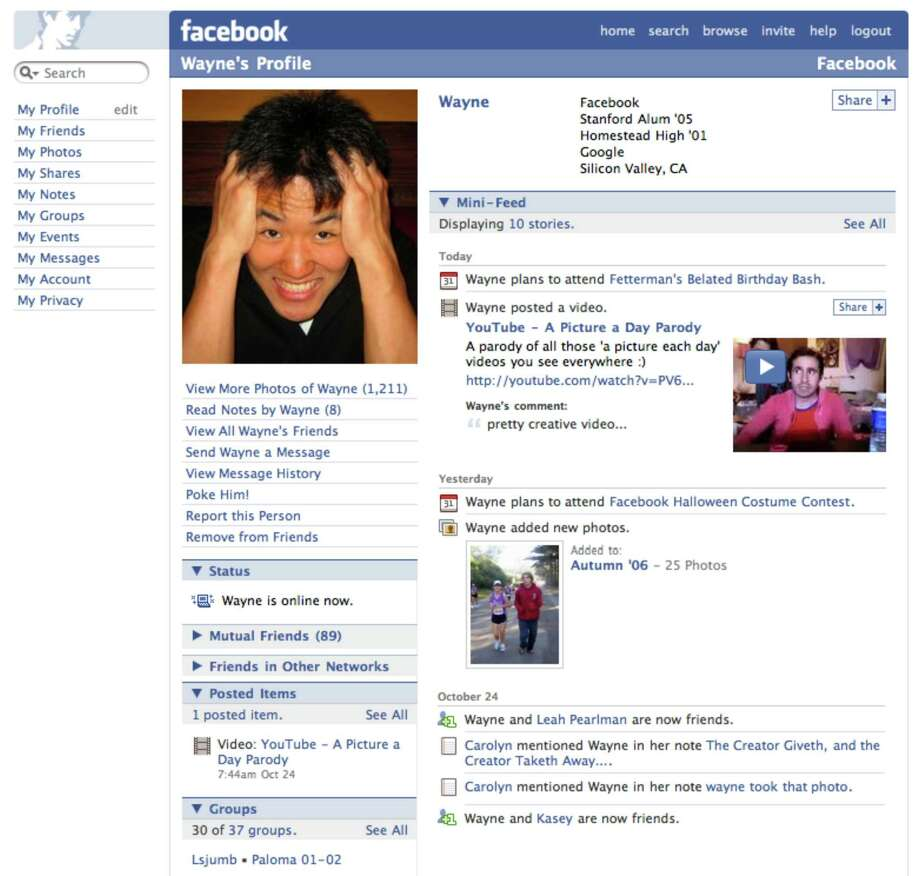 Here we see an expanded version of the mini-feed, which offered updates on a user's most recent Facebook activity. That type of information was compiled in a news feed homepage launched in September 2006. Facebook for mobile also launched that year, while the website opened up registration for anyone.Article:Even on top, Facebook looks for next big thing Photo: Facebook
