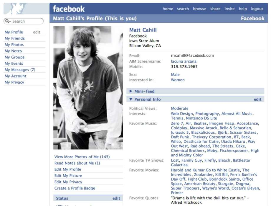 The profile picture permanently moved to the top-left corner in 2005. This version of the profile page emphasized users' personal information, with lists of favorite music, TV shows, movies, and quotes appearing alongside political views, contact information, and interests.Article:Even on top, Facebook looks for next big thing Photo: Facebook
