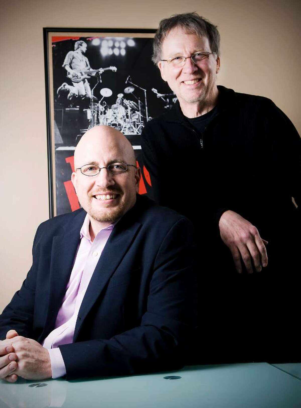 """Bob Kernen and Tom Sharrard, Co-founders of GrokMusic, a free music website that specializes in helping you """"Find the Music You're Missing"""" in their Norwalk, Conn. office on Tuesday, Jan. 26, 2010."""