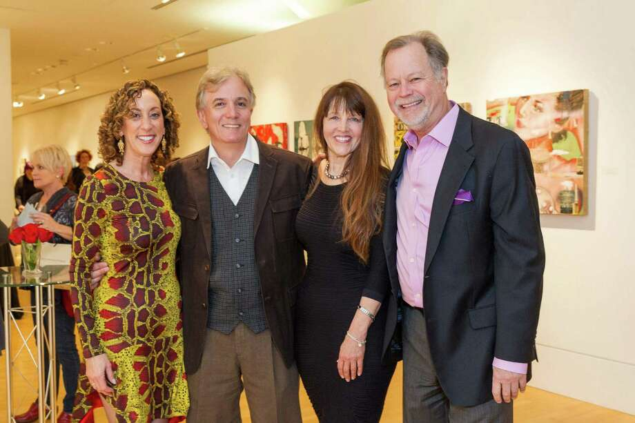 Susan Snyder, Deladier Almeida, Melissa Chandon and Oliver Caldwell at the Caldwell Snyder Gallery 30th anniversary celebration on January 30, 2014 in San Francisco. Photo: Drew Altizer Photography/SFWIRE, Drew Altizer Photography / ©2014 by Drew Altizer, all rights reserved