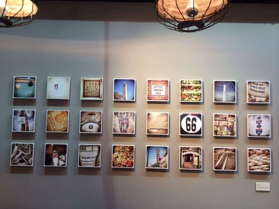 """Photoply"" wall by Nike van der Molen on the back wall of the new Peet's on Chestnut Street. The Chronicle/Sam Whiting"