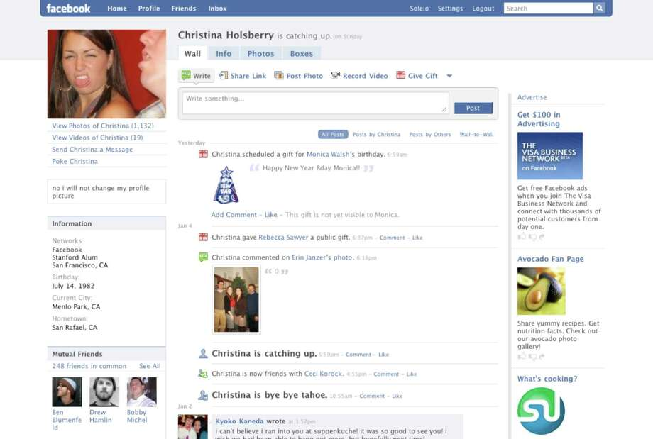 """This page feels familiar, with the """"wall"""" serving the function of a late mini-feed or early timeline. Tabs made it easy to navigate to info and photos. This version of the profile page gave users three different fields to express a status, which could be confusing.Article:Even on top, Facebook looks for next big thing Photo: Facebook"""