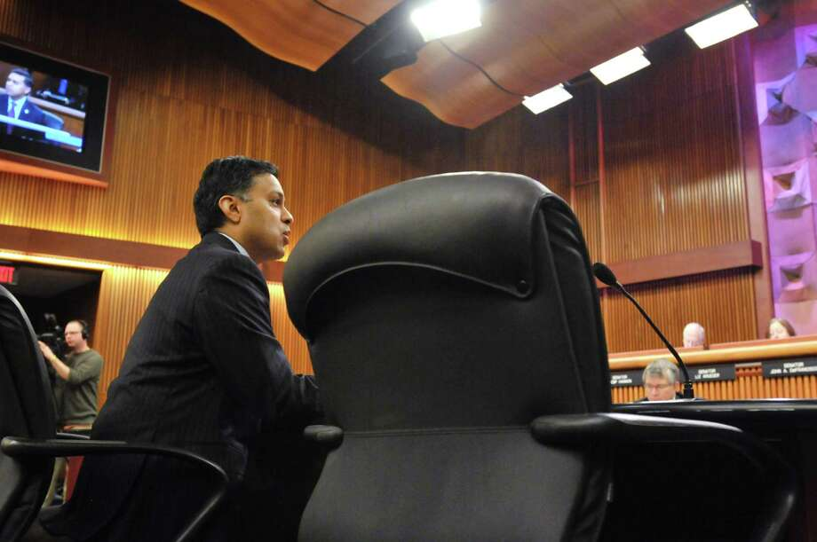 Dr. Nirav Shah, New York State Health Commissioner, addresses legislators as he testified before a Legislature Joint Budget Hearing on Health and Medicaid at the Legislative Office Building on Monday, Feb. 3, 2014 in Albany, NY.    (Paul Buckowski / Times Union) Photo: Paul Buckowski / 00025591A