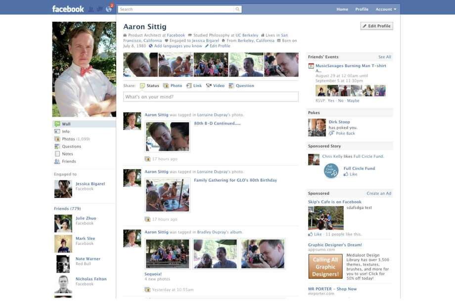 A summary of the user's information appeared at the top of this profile page. Recent photos were below. (Some of my more creative friends used those five photos to create one larger photo.) Tabs disappeared.Article:Even on top, Facebook looks for next big thing Photo: Facebook
