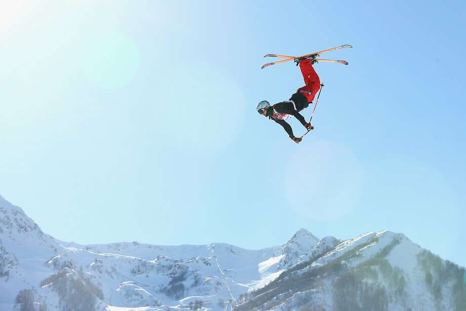 What can Brown do for you? Bobby Brown of the United States flips head over heels while practicing for the Ski Slopestyle 