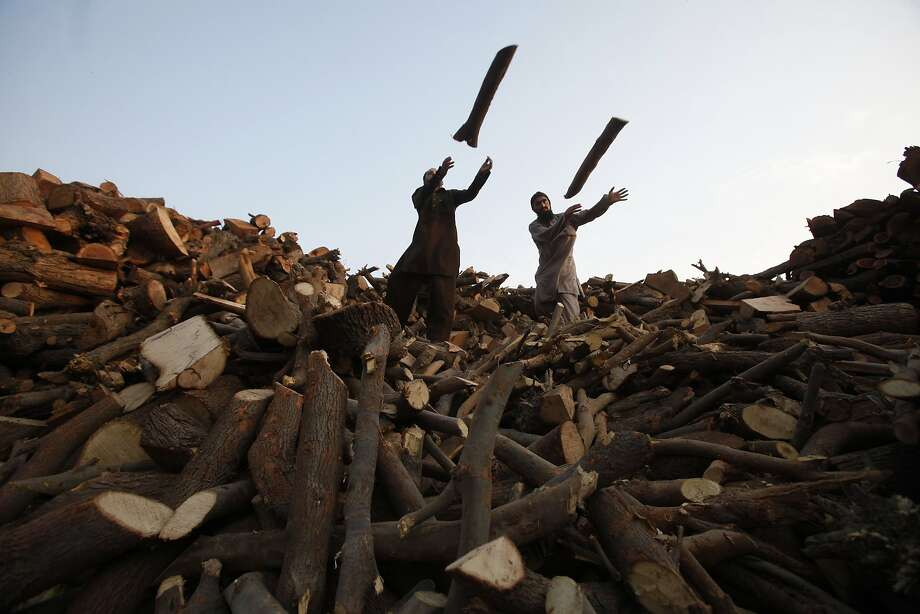 Men throw wood from a pile of logs into a supply truck at a timber warehouse in Lahore February 3, 2014. REUTERS/Mohsin Raza   (PAKISTANSOCIETY - Tags: SOCIETY TPX IMAGES OF THE DAY) Photo: Mohsin Raza, Reuters