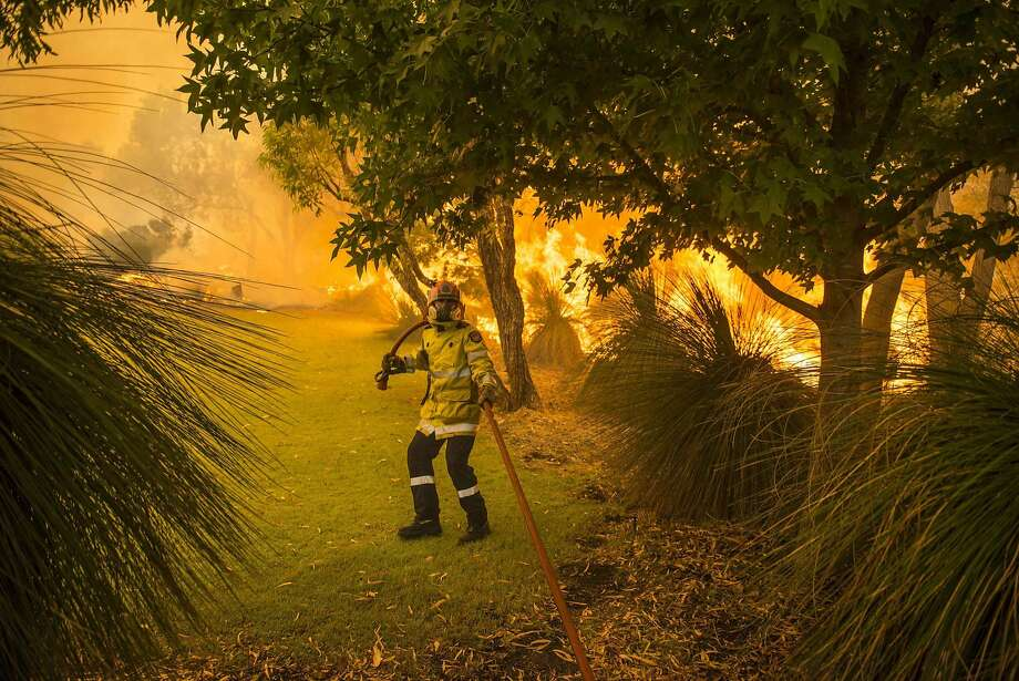 A firefighter is pictured among burning trees as he battles wildfires in Banjup, a suburb of Perth, Western Australia, February 3, 2014. A bushfire continues to burn out of control, threatening lives and homes in Perth's southern suburbs, according to local news reports.  REUTERS/Department of Fire and Emergency Services (DFES)/Handout via Reuters   (AUSTRALIA - Tags: DISASTER ENVIRONMENT TPX IMAGES OF THE DAY) ATTENTION EDITORS - THIS IMAGE WAS PROVIDED BY A THIRD PARTY. FOR EDITORIAL USE ONLY. NOT FOR SALE FOR MARKETING OR ADVERTISING CAMPAIGNS. NO SALES. NO ARCHIVES. THIS PICTURE IS DISTRIBUTED EXACTLY AS RECEIVED BY REUTERS, AS A SERVICE TO CLIENTS Photo: Handout, Reuters
