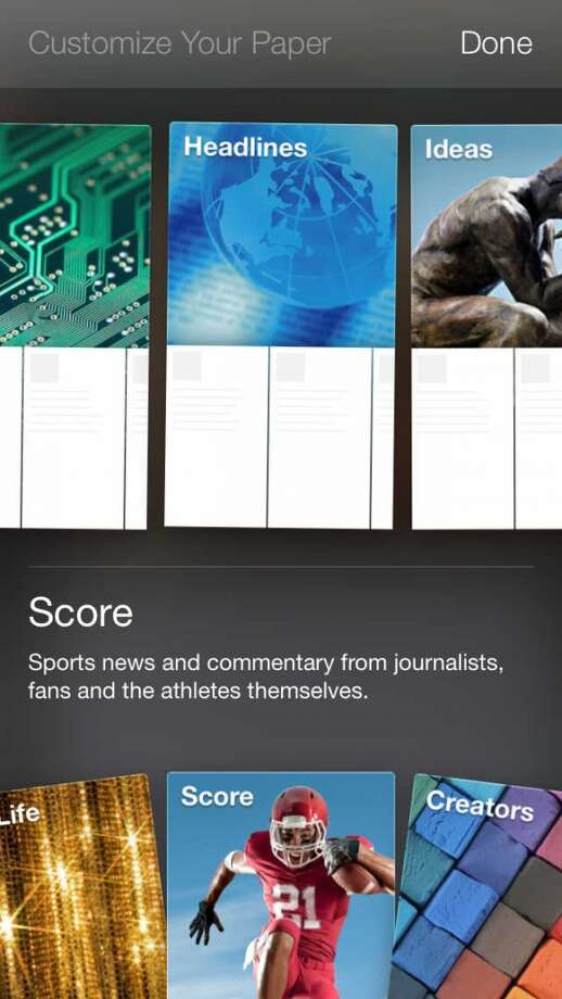 Customize your Paper by choosing from a pre-set selection of story topics. Photo: Chronicle Screenshot