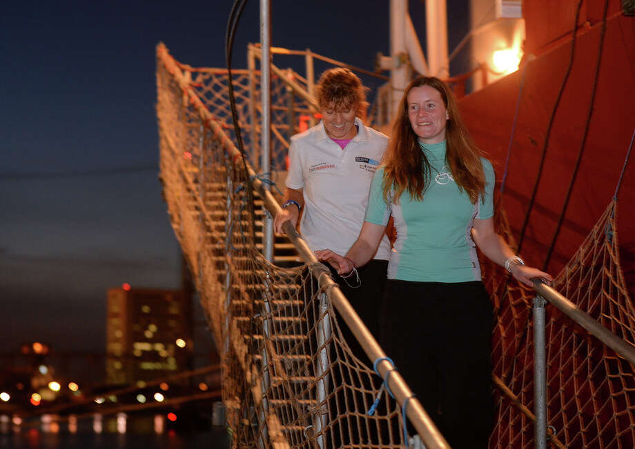 Elizabeth Beauchamp, right,  and Jane McIntosh are two of a four-member British rowboat team who were stranded in the Atlantic Ocean after their rudder snapped mid-race. The team was rescued a day later by crew members of the Hedvig Bulker, above, 1200 miles east of Puerto Rico and brought to the Port of Beaumont Monday night. The team raced for 51 days and stranded for one, before being rescued. Photo taken Monday, February 03, 2014 Guiseppe Barranco/@spotnewsshooter Photo: Guiseppe Barranco, Photo Editor