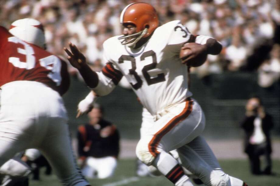 Jim Brown  The legendary Cleveland Browns running back also had success in baseball, basketball, lacrosse and track. He finished his NFL career with 12,312 rushing yards and 106 touchdowns. Photo: Tony Tomsic, Getty Images