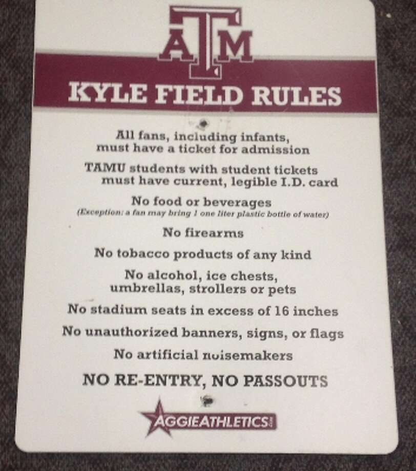 This 18-by-24-inch sign from A&M's Kyle Field was drawing high bidder interest during an online auction.