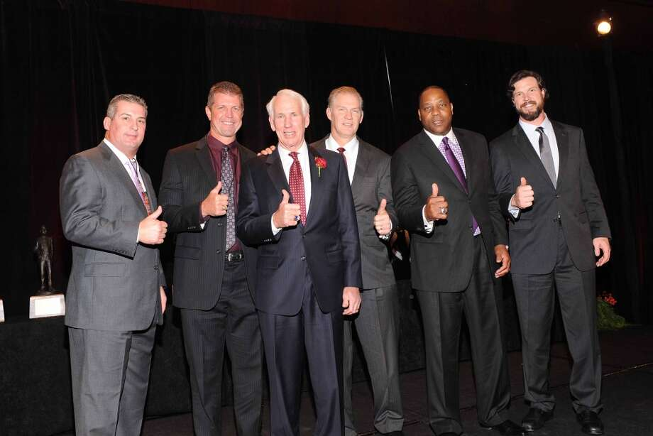 Bucky Richardson, Larry Kelm, R.C. Slocum, Fred Caldwell, Jacob Green, Rex Tucker  at the Paul Bear Bryant Annual Awards benefiting the American Heart Association. Photo: Alexander's Fine Portrait Design