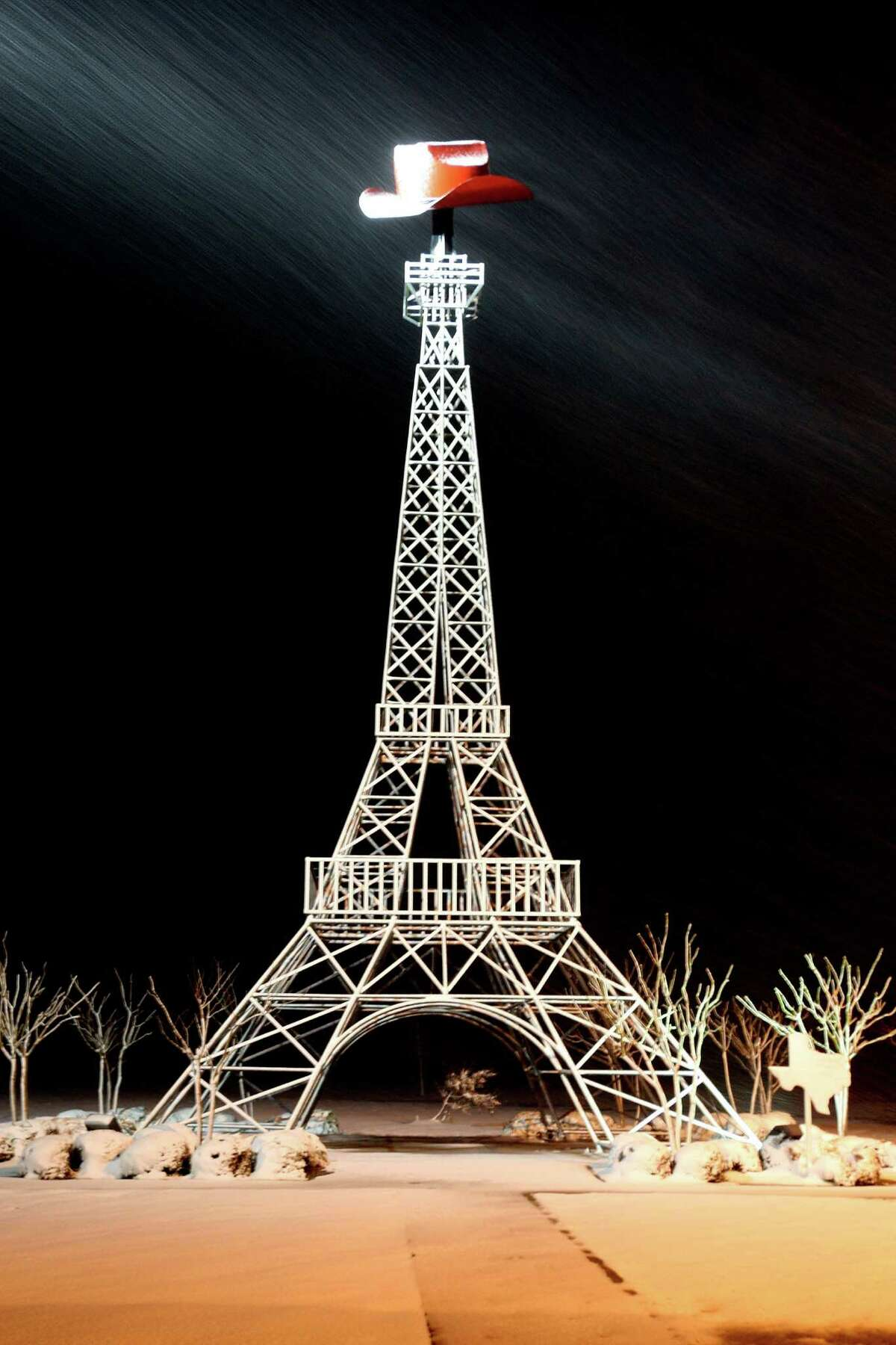 We could have built the biggest Eiffel Tower, but we didn't because it wouldn't be very nice to France.PHOTO: Snow flurries can be seen blowing past the