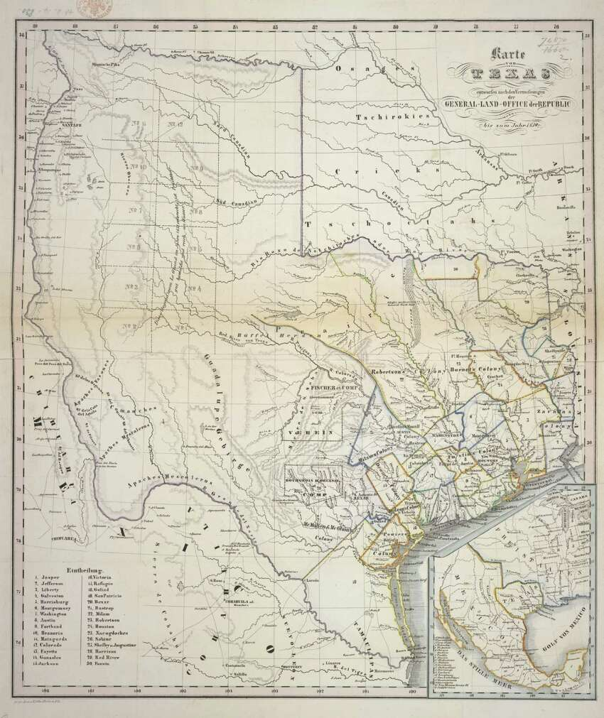 Texas used be the bigger. Then we became a state. PHOTO: A map of Texas, designed according to the measurements of the General Land Office of the Republic, up to 1839. The map was originally published/produced in Frankfurt, Germany.Related Interactive: Learn about the Battle of the Alamo