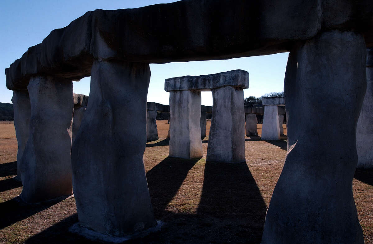 Stonehenge II in Ingram. This installation, byAl Shepperd and Doug Hill, is a tribute to the original Stonehenge and to the Easter Island busts, which are also on the property. The columns at the Stonehenge II monument are actually hollow although they appear as solid, heavy rock pillars.