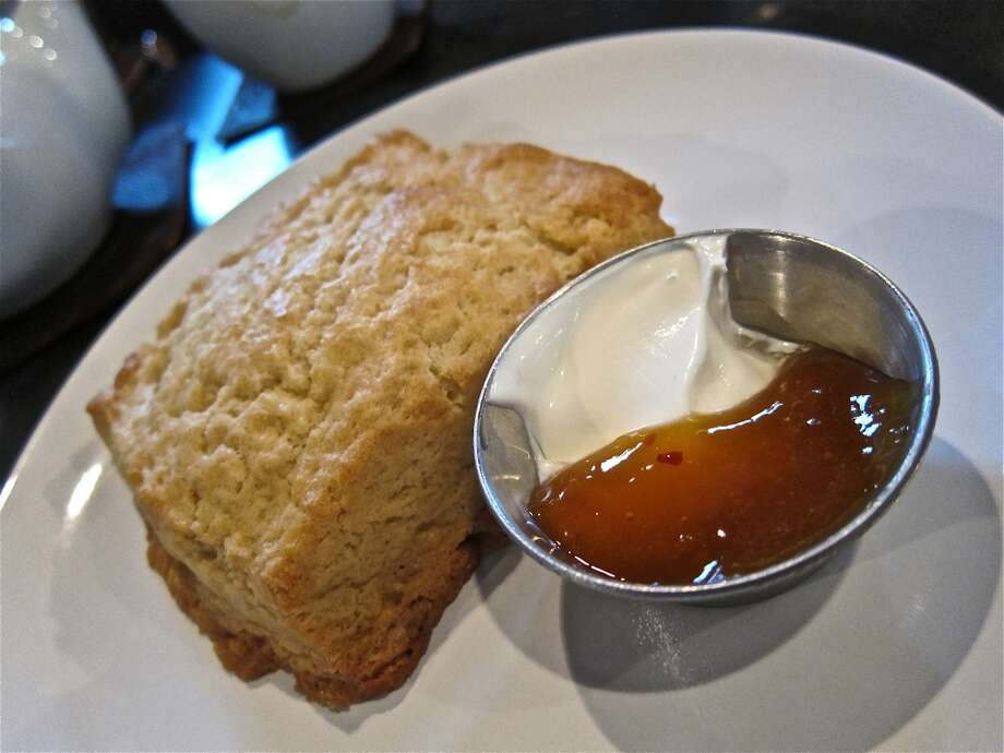 Chef Erin Smith's biscuit with creme fraiche and apricot preserves at Blacksmith Coffee Bar. Photo: Alison Cook