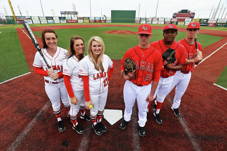 Left to right, Ashley McDowell, Candyce Carter, Shannon Millman, Chase Angelle, Sam Bumpers, and Jude Vidrine stand in front of home plate at Vincent-Beck Field. Michael Rivera/@michaelrivera88