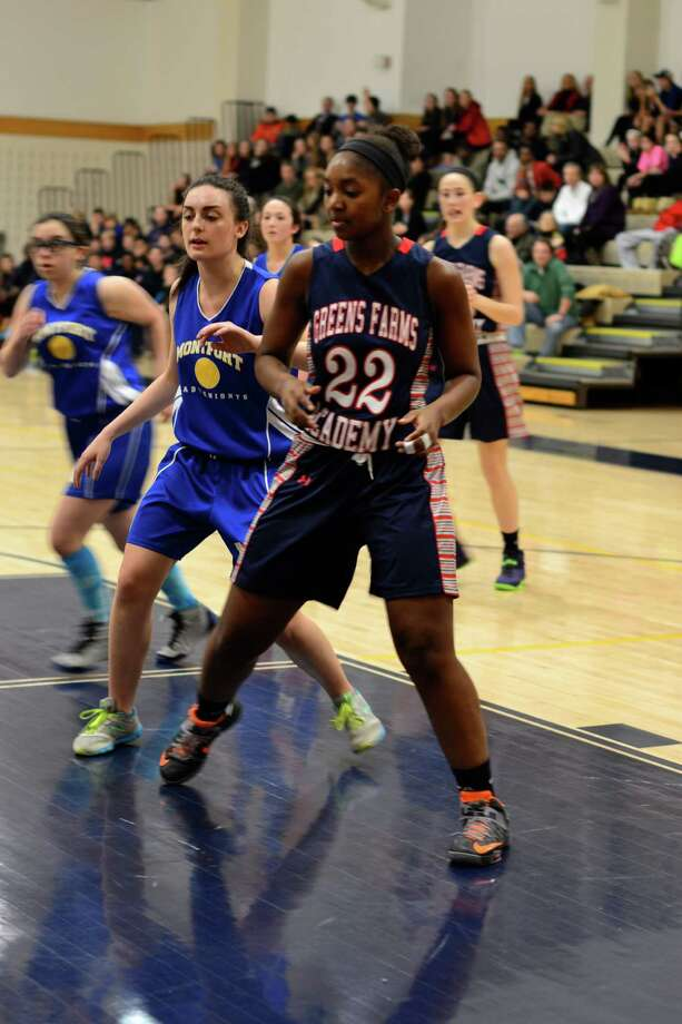 Greens Farms Academy junior captain Lisa Johnson had six points, 11 rebounds, three assists and two blocks in the Dragon's 46-40 victory against Holy Child Jan. 29. Photo: Contributed Photo / Westport News Contributed