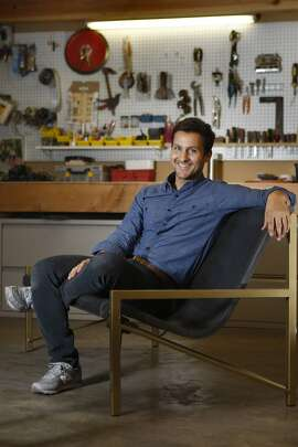 Aaron Jones shows his newest heated outdoor couch in his studio in San Francisco, Calif., on Tuesday, January 28, 2014.