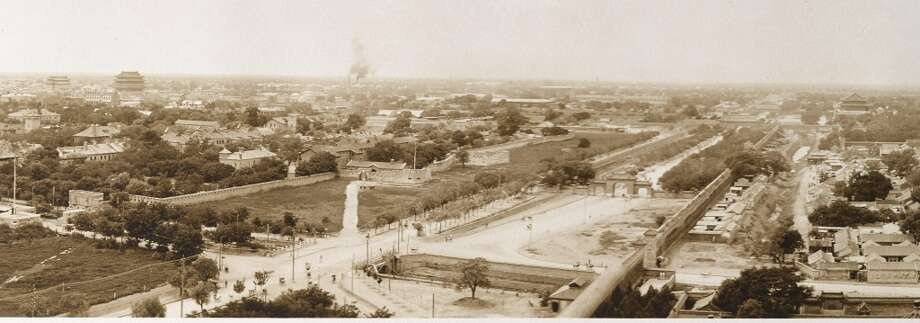 """BEIJING—PANORAMA. A detailed view of a silver print photograph, 7 1/2 by 71 in, titled """"Birds Eye View of Peking.""""  Beijing, 1910-1929.  (http://www.bonhams.com/auctions/21612/lot/78/)"""