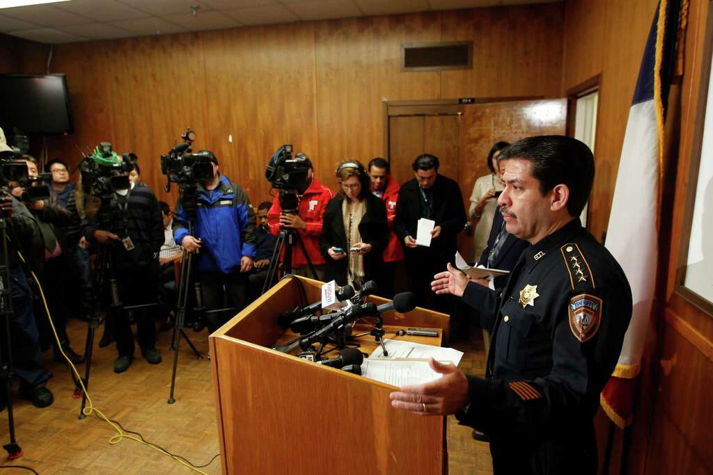 Harris County Sheriff Adrian Garcia speaks at the Harris County Sheriff's Detective Bureau about the investigation where a family of four including two children were shot to death in their Cypress home. Garcia