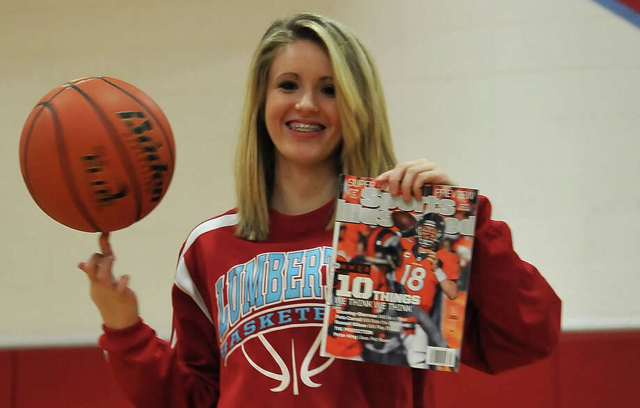 Lumberton guard Allison Jacks, 18, holds a recent edition of Sports Illustrated she was featured in. Jacks is less than 20 3-pointers away from breaking the national record for career threes. Photo by Cassie Smith/@smithcassie. Jan. 31, 2014 Photo: Cassie Smith