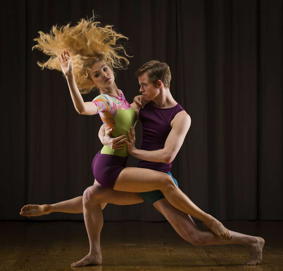 Smuin Ballet dancers Erica Felsch and Christian Squires in Roemer's designs of floral and plum. Photo: Russell Yip, The Chronicle