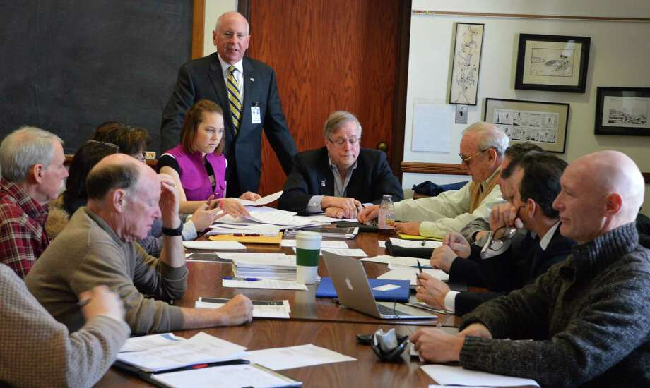 First Selectman Jim Marpe addresses the new Downtown Steering Committee at its first meeting Tuesday in Town Hall. Photo: Jarret Liotta / Westport News contributed