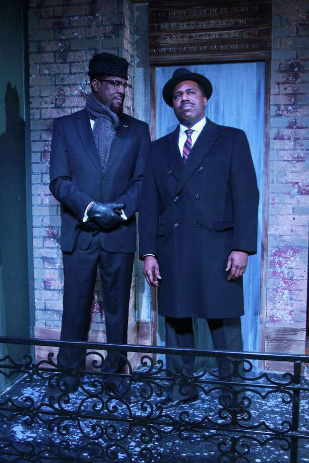 "(For the Chronicle/Gary Fountain, January 26, 2014) Mirron Willis as Malcom X, left, and Jason E. Carmichael as Dr. Martin Luther King Jr., in this scene from The Ensemble Theatre's production of ""The Meeting,"" written by Jeff Stetson and directed by Shirley Marks Whitmore. Photo: Gary Fountain, Freelance / Copyright 2014 Gary Fountain."
