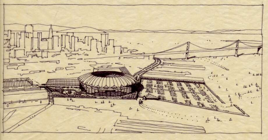 This 1979 study looked into the idea of placing a combined baseball-football stadium on China Basin. It went nowhere — but helped plant the seed for the Giants' ballpark in the same location. (Christopher Grubbs/Courtesy) Photo: Christopher Grubbs, Courtesy