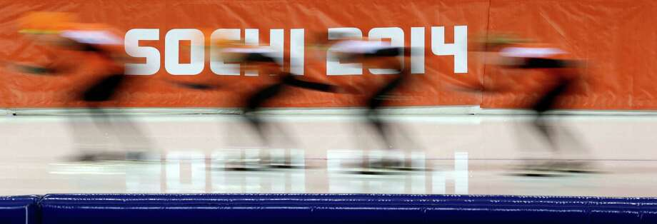 Speedskaters from the Netherlands train at the Adler Arena Skating Center ahead of the 2014 Winter Olympics in Sochi, Russia, Tuesday, Feb. 4, 2014. (AP Photo/Patrick Semansky) Photo: Patrick Semansky, Associated Press / AP
