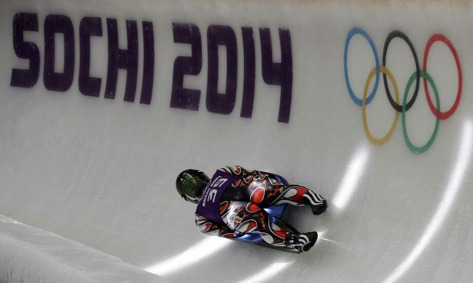 Hidenari Kanayama of Japan completes a training run in the men's luge singles ahead of the 2014 Winter Olympics, Tuesday, Feb. 4, 2014, in Krasnaya Polyana, Russia. (AP Photo/Natacha Pisarenko) Photo: Natacha Pisarenko, Associated Press / AP