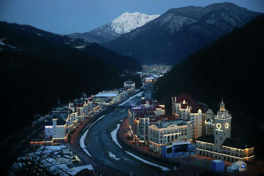 Rosa village is seen from a gondola prior to the 2014 Winter Olympics, Tuesday, Feb. 4, 2014, in Krasnaya Polyana, Russia. The opening ceremony for the games is Feb. 7, and the competition will run until Feb. 23. (AP Photo/Jae C. Hong) Photo: Jae C. Hong, Associated Press / AP