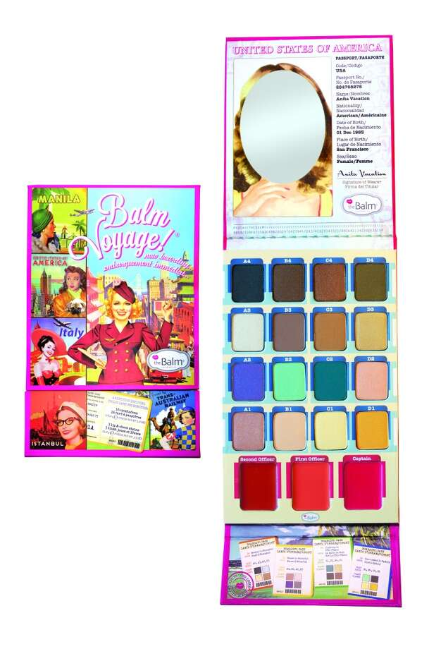 """Balm Voyage holiday palette.Let's just accept, for a moment, the very cool colors (everyday neutral shadows with fun pops of color) and the travel-friendly efficiency of this all-in-one palette. But what really gets us is the flip-up cover for the three lip and cheek creams (""""sheer or layered for more payoff,"""" Shipman advises), which takes care of those carry-on induced """"crumbs"""" that normally would turn the tangerine-like """"First Officer"""" into a muddy purple mess.  www.thebalm.com, $42.50 Photo: TheBalm Cosmetics"""