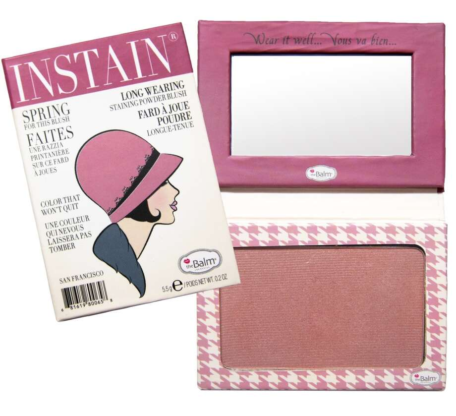 Instain Long-wearing Powder Staining Blush.. It's a blush; it's a stain; it's your new secret weapon. Shipman invented this to avoid touch-ups throughout the day, and it looks like she scored a touch-down. Instain boasts an incredibly fine powder that goes on without smearing your concealer, leaving behind a non-powdery flush for days. Plus the mini magazine-style packaging is insane(ly cute). www.thebalm.com, $22 (Shown: Houndstooth) Photo: TheBalm Cosmetics