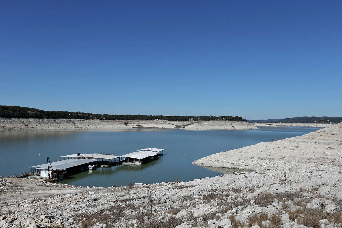 The Red Cove Marina still floats on water as Medina Lake levels continue to drop, Tuesday, Feb. 4, 2014.