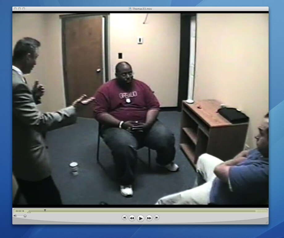 Recorded video interview of Troy detectives questioning Adrian Thomas about the September 2008 death of his 4-month-old son. This recording was shown to jurors during Thomas' trial.   (Times Union archive)