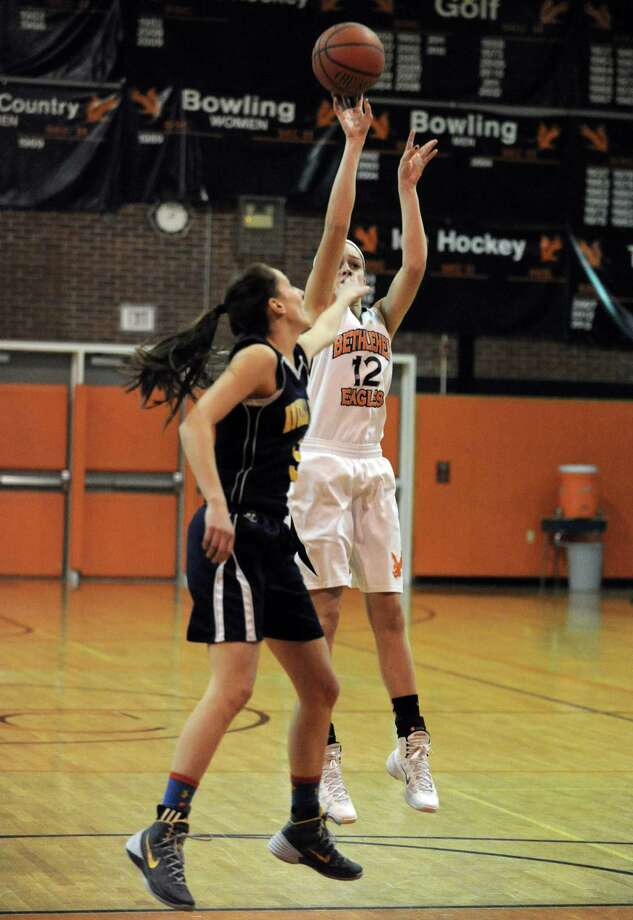 Bethlehem's jenna Giacone goes in for a score during their girl's high school basketball game against Averill Park on Tuesday Feb. 4, 2014 in Delmar, N.Y. (Michael P. Farrell/Times Union) Photo: Michael P. Farrell / 00025622A