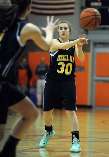 Averill Park's Tori Mosley passes the ball during their girl's high school basketball game against B