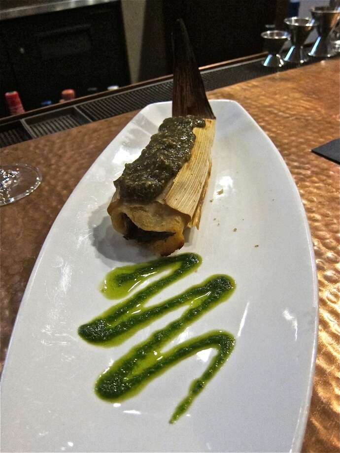 Curried braised short rib tamale with tomatillo jalapeño salsa at Trenza. Photo: Alison Cook
