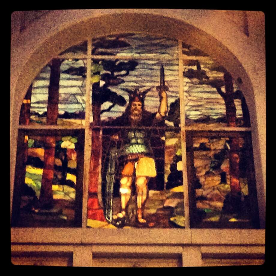 Stained glass window at Herman Sons Grand Lodge.