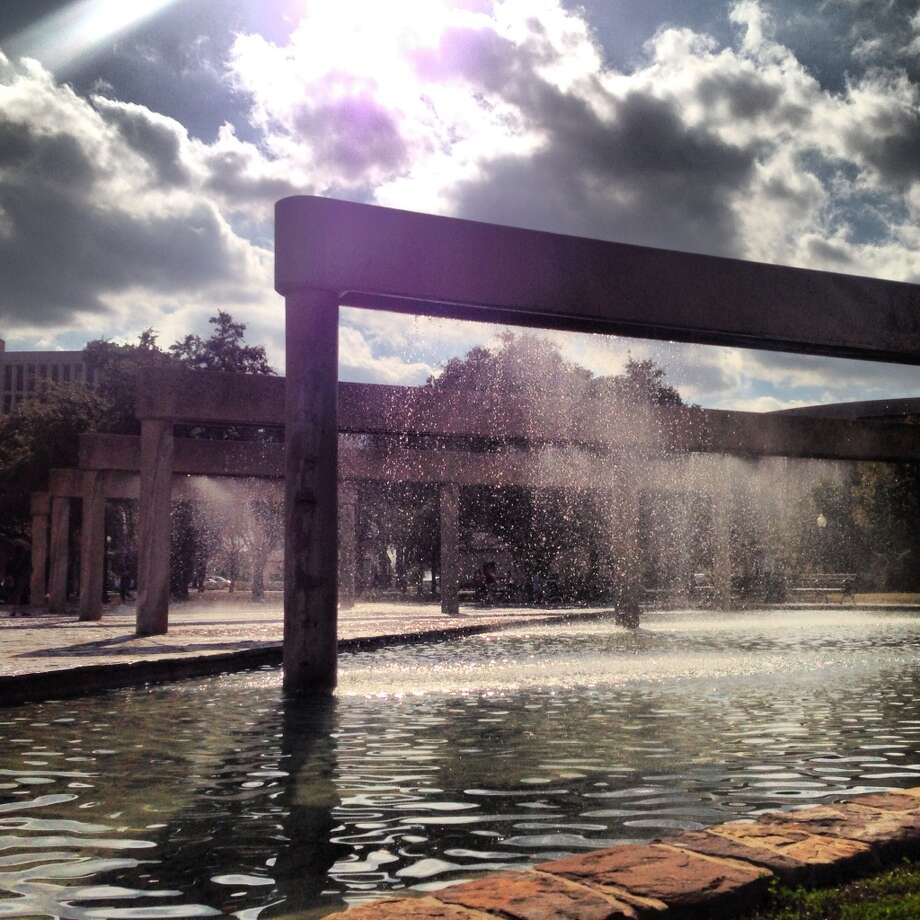 Fountains at HemisFair Park over the weekend.