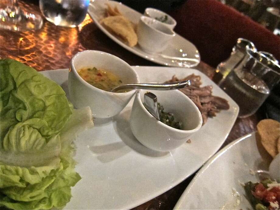 Duck lettuce wraps at Trenza, with Colombian citrus dressing and grilled cactus salsa. Photo: Alison Cook